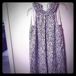 Cream and Black silk dress, size M